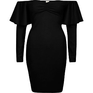 Black bardot long sleeve bodycon mini dress