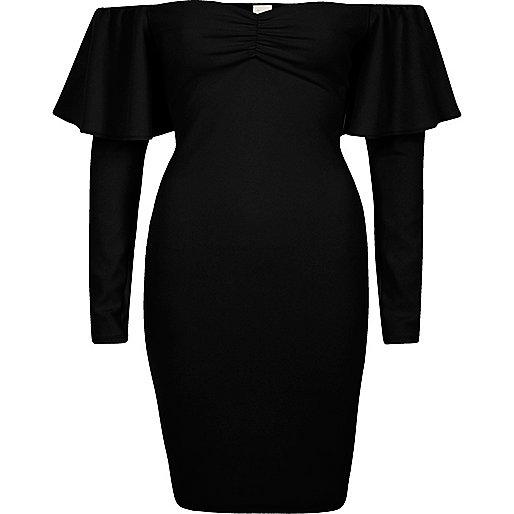 Mini-robe moulante Bardot noire à manches longues
