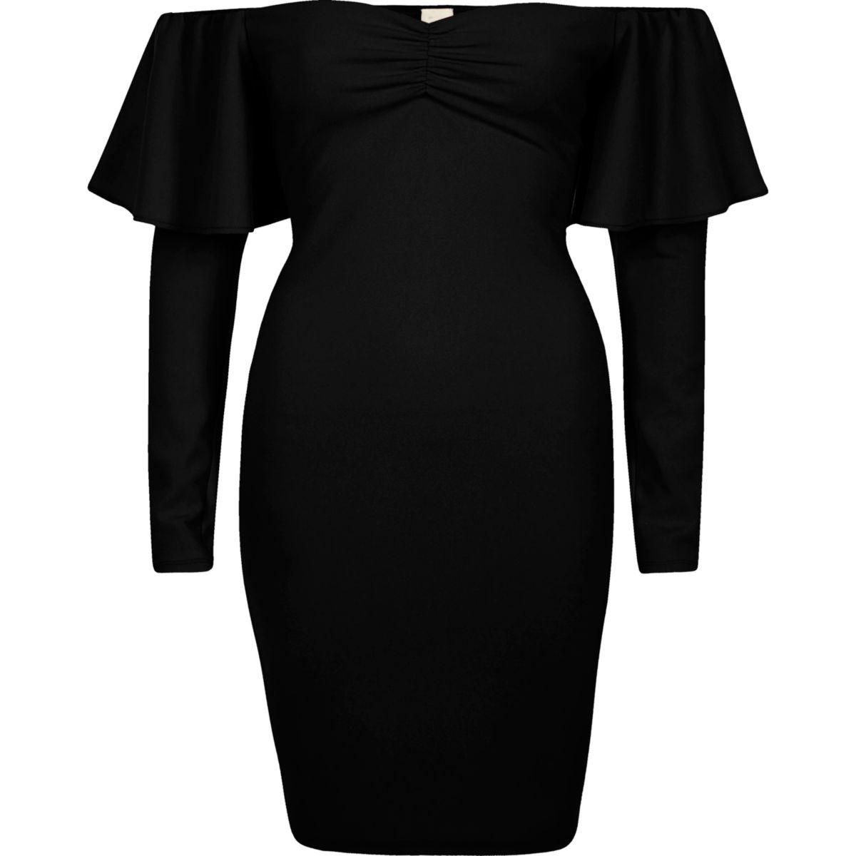 Black bardot long sleeve bodycon mini dress