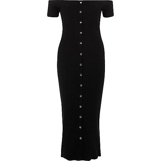 Black rib popper front bardot maxi dress