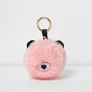 Porte-clés ours pompon rose clair