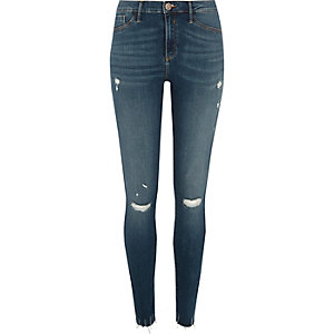 Molly - Blauwe ripped jegging