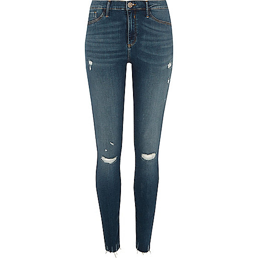 Blue tinted Molly ripped jeggings
