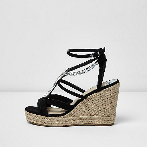 Black diamante embellished espadrille wedges