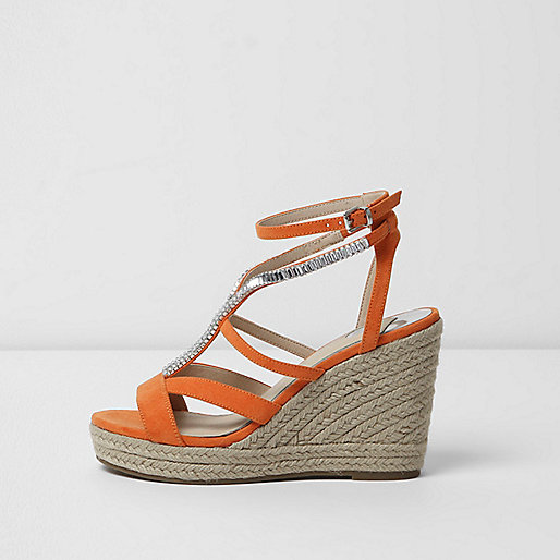 Orange embellished espadrille platform wedges