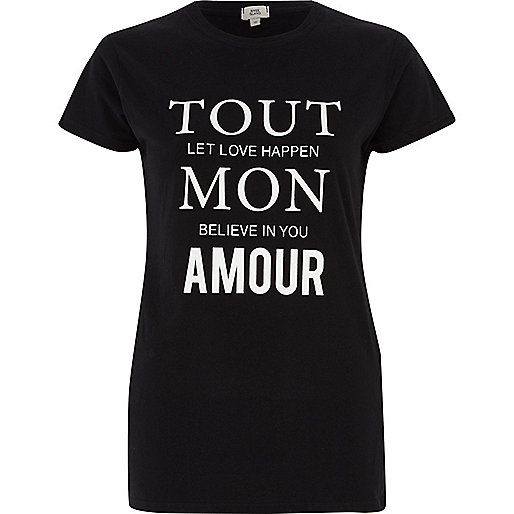 Black 'tout mon' print fitted T-shirt