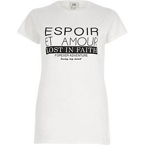 White 'espoir' print fitted T-shirt