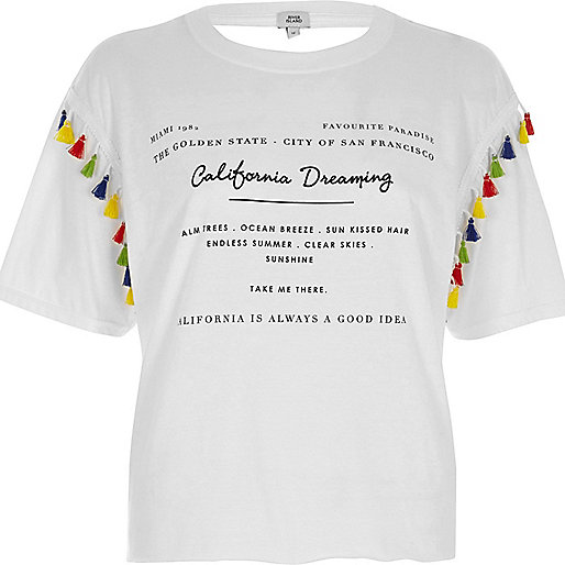 White 'California' print tassel trim T-shirt