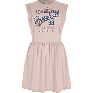 Pink baseball print frill skater dress