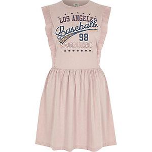 Pink baseball print frill skater dress