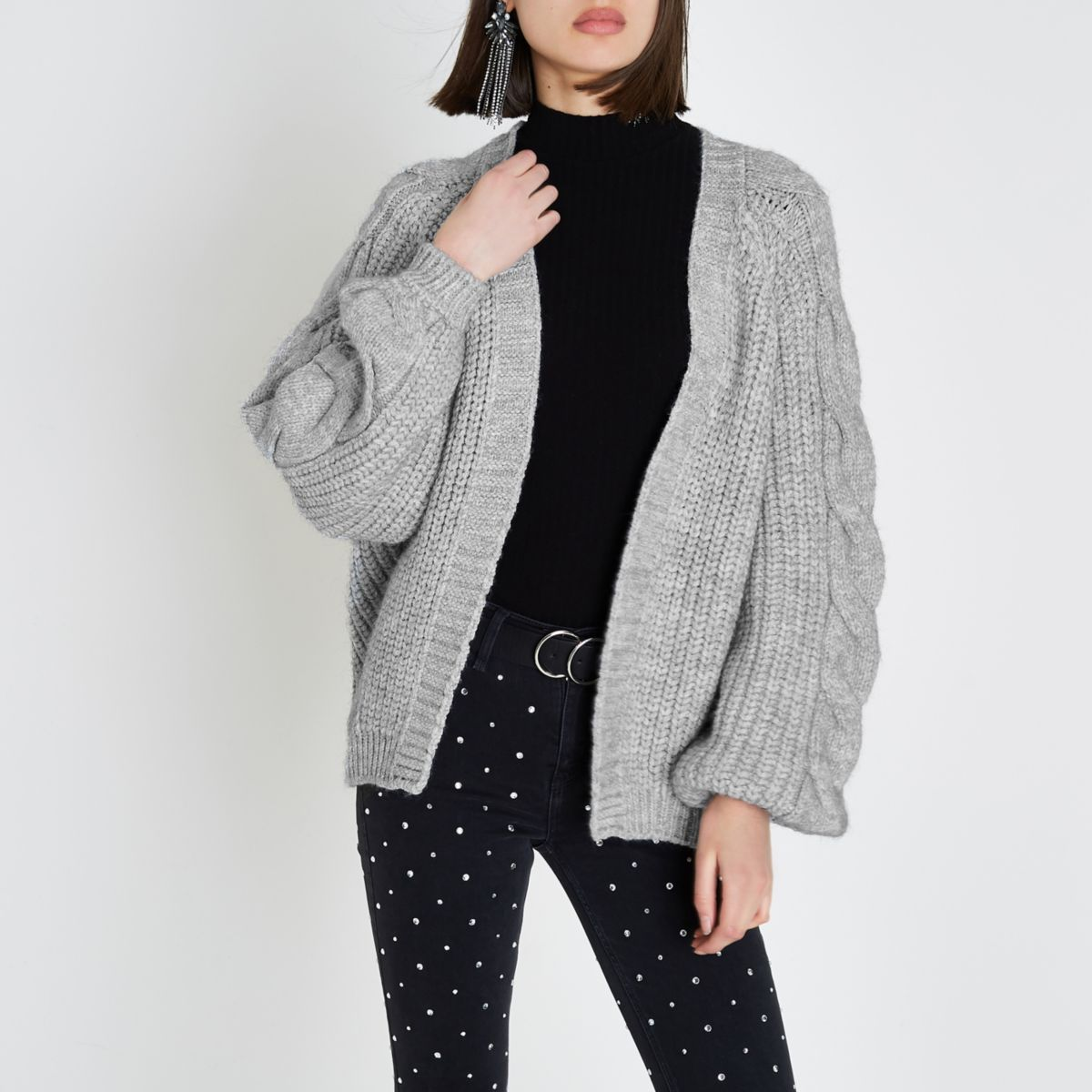 Grey chunky cable knit cardigan - Cardigans - Knitwear - women