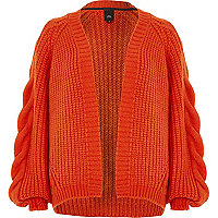 Red chunky cable knit cardigan