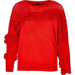 Red knit frill front jumper