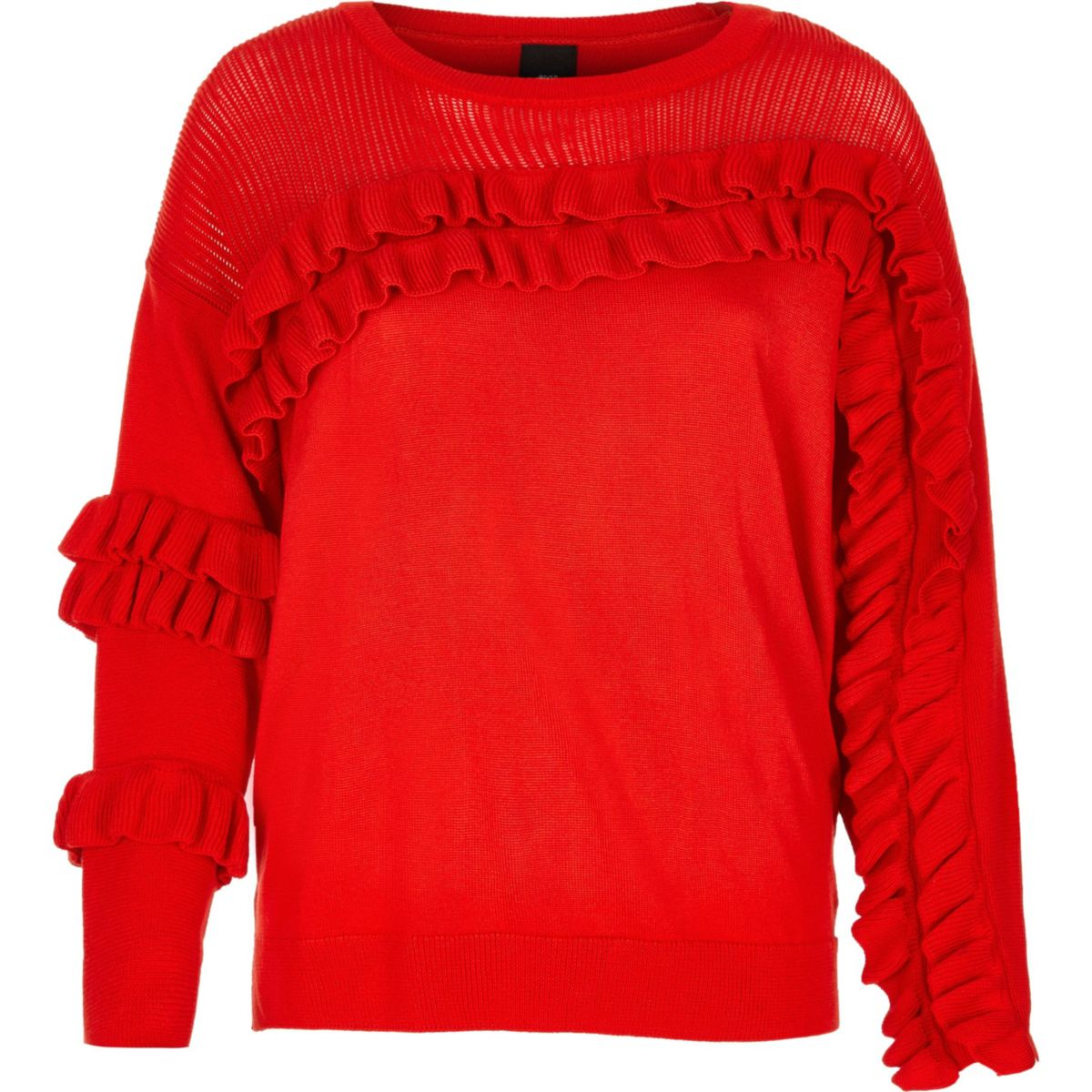 Red knit frill front sweater