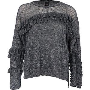 Dark silver lurex knit frill front jumper