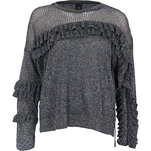 Dark silver lurex knit frill front sweater
