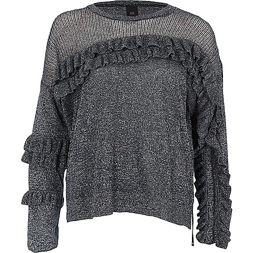 Dark silver lurex knit frill front sweater