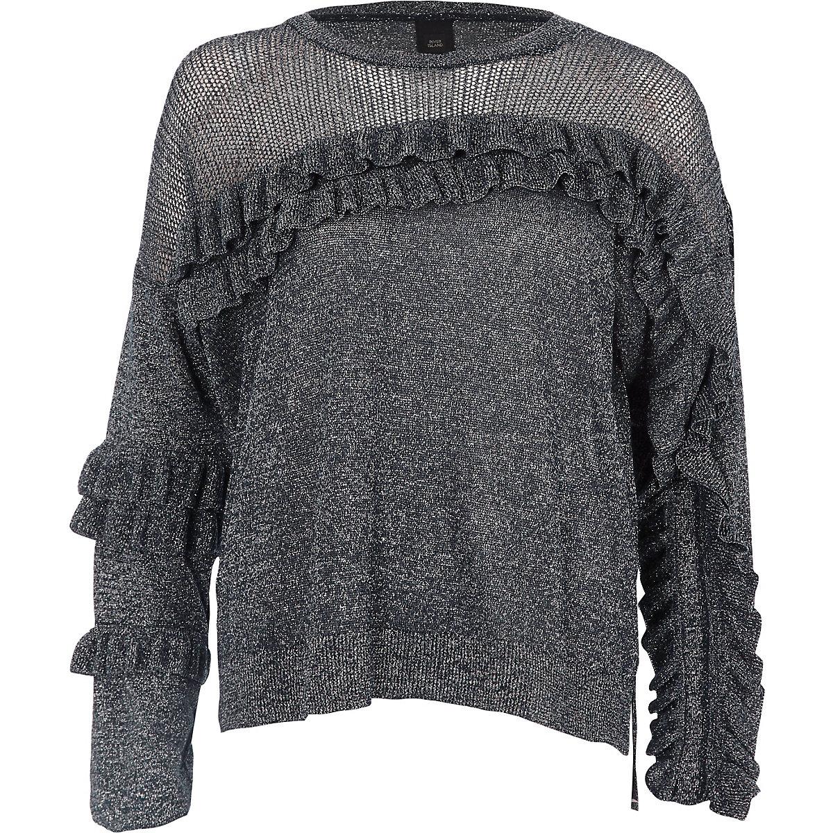 Dark silver metallic knit frill front sweater