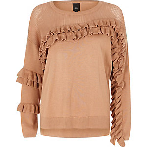 Beige knit frill front sweater