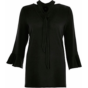 Black tie neck flared sleeve jumper