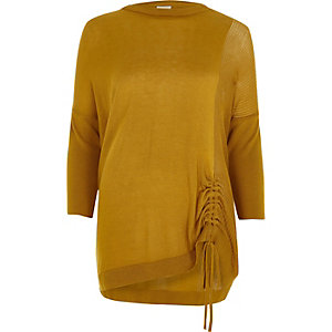 Yellow ruched front knitted top
