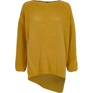 Yellow knit asymmetric hem oversized sweater