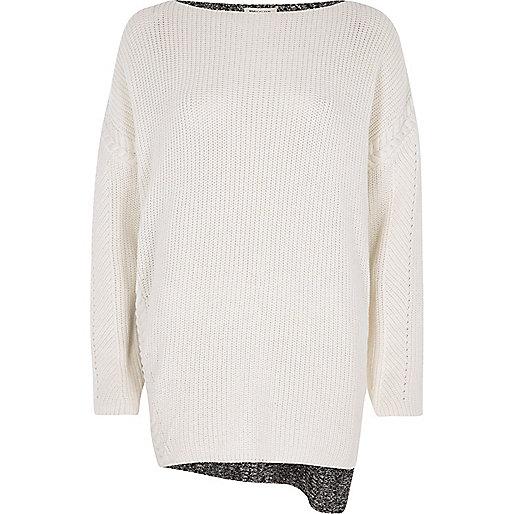 Cream eyelet detail color block sweater