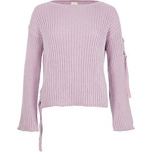 Light purple rib knit tie side sweater