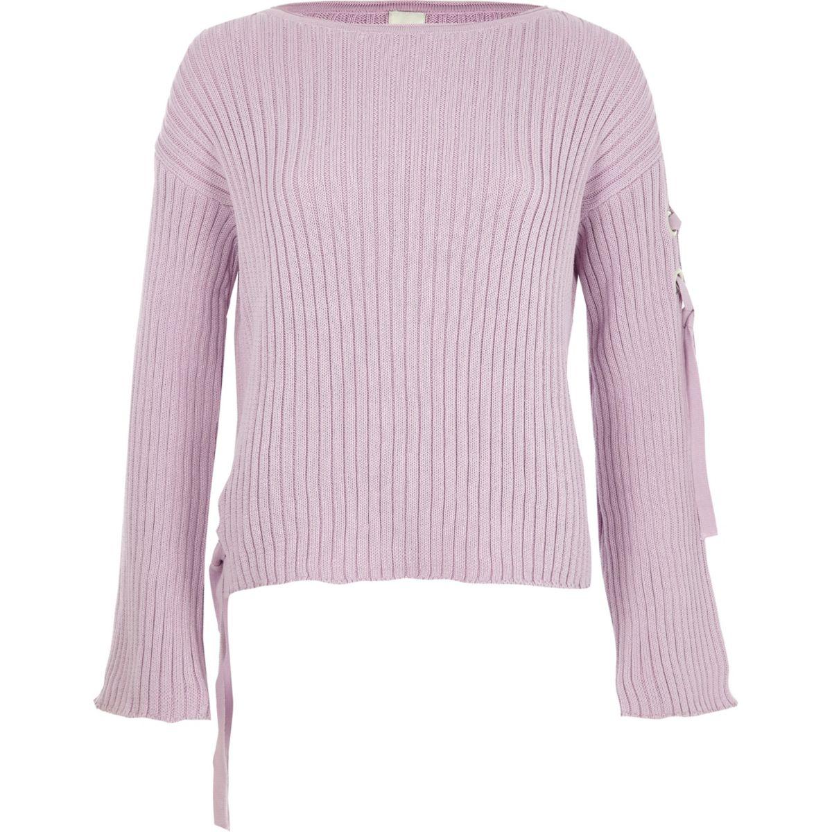 Light purple rib knit tie side sweater