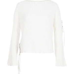 White rib knit tie side jumper