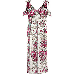 White floral cold shoulder culotte jumpsuit
