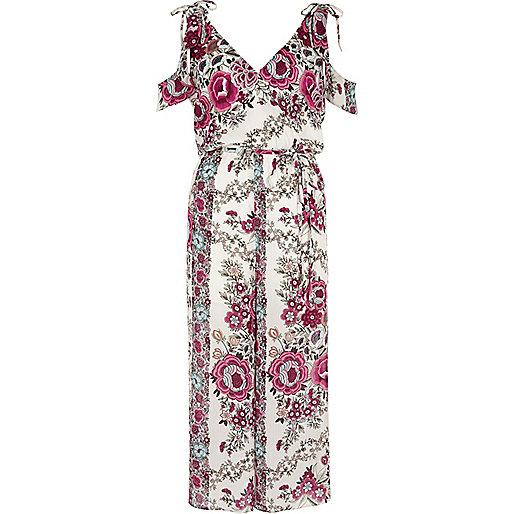 White floral cold shoulder culotte jumpsuit