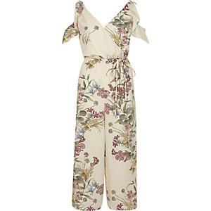 Cream floral print frill culotte jumpsuit