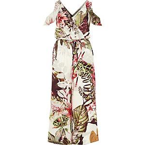 Combinaison jupe-culotte imprimé fleuri verte à épaules dénudées