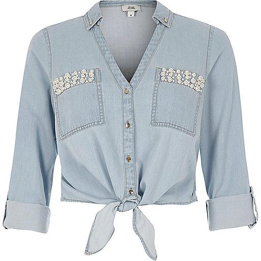 Light blue embellished cropped denim shirt