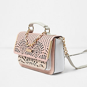 Pink laser cut mini satchel chain bag
