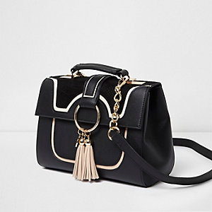 Black tassel ring cross body chain bag