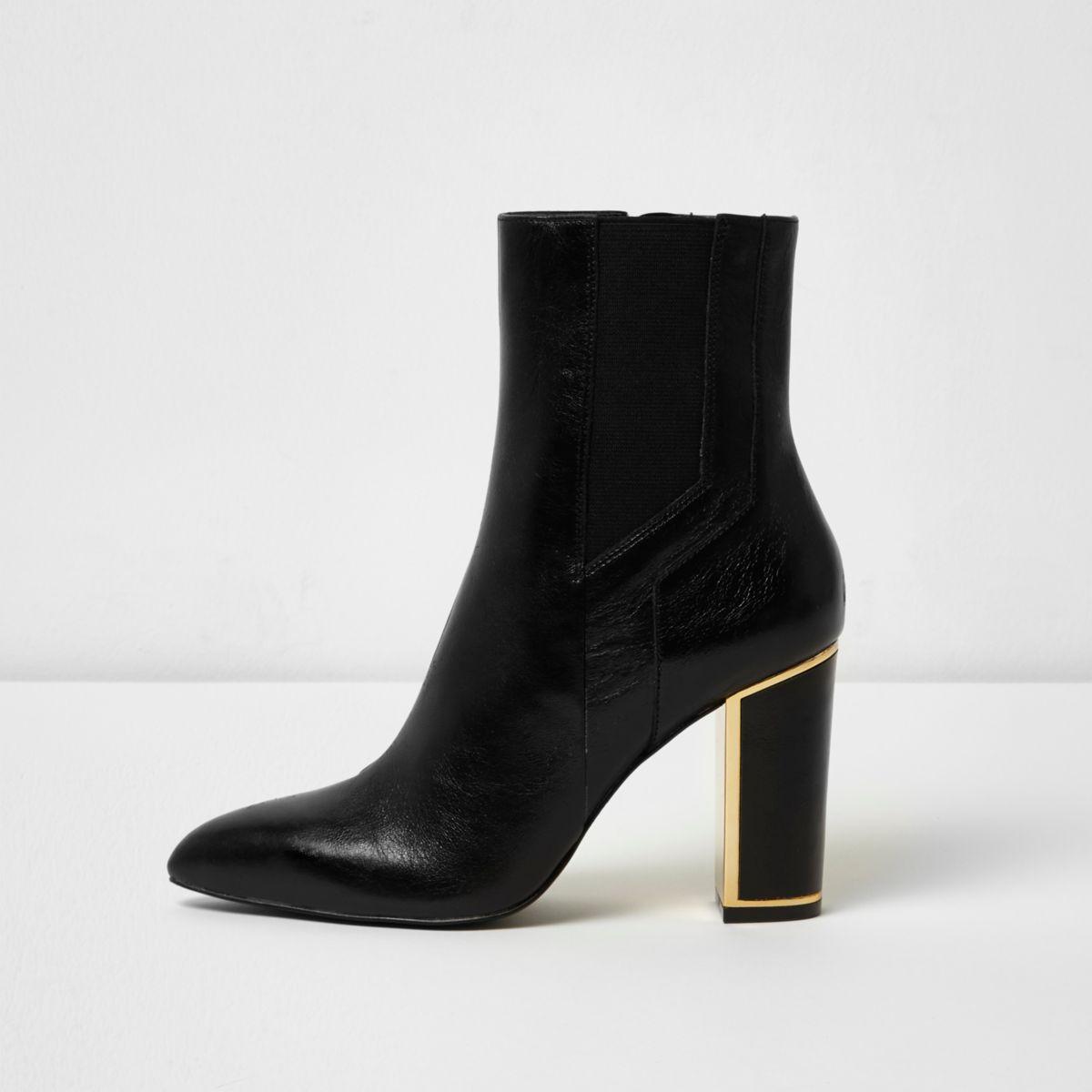 Black gold tone trim block heel leather boots