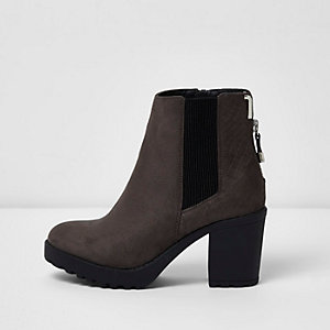 Grey chunky block heel ankle boots