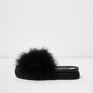Black feather metallic espadrille sliders