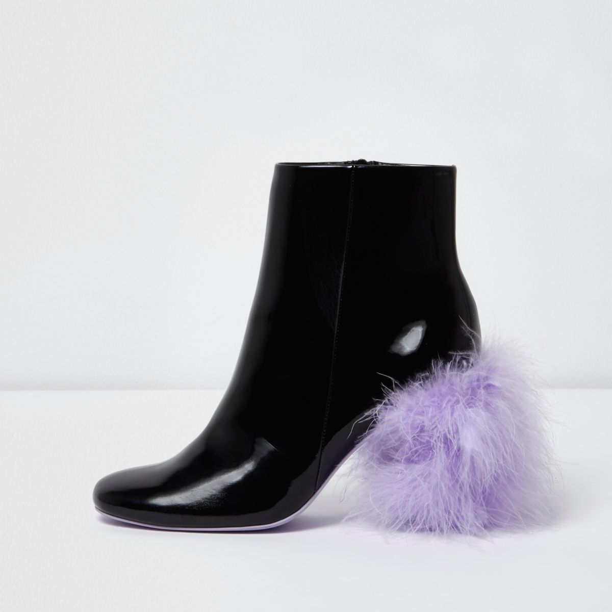 Black feather heel ankle boots