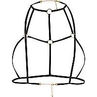 Harnais élastique noir motif cercle