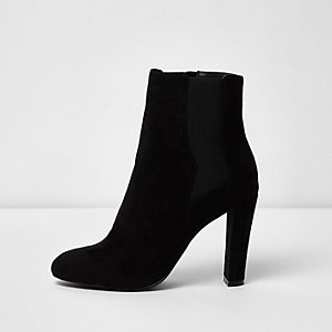 Black wide fit heeled chelsea boots
