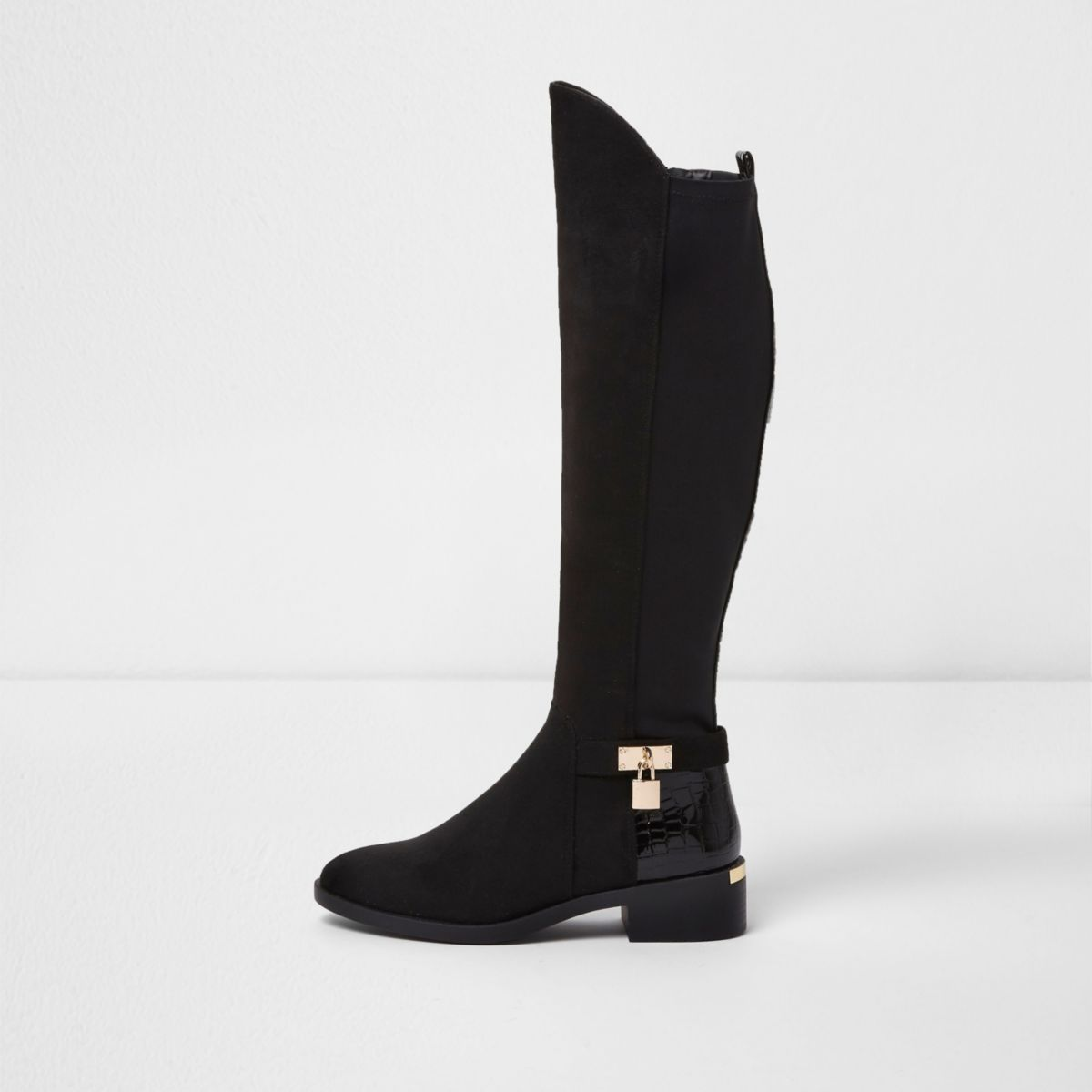 Black wide fit knee high riding boots