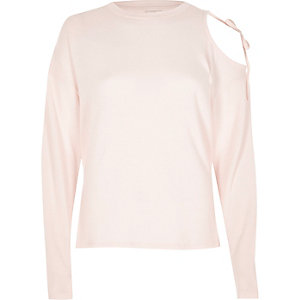 Pink long sleeve cut out shoulder top