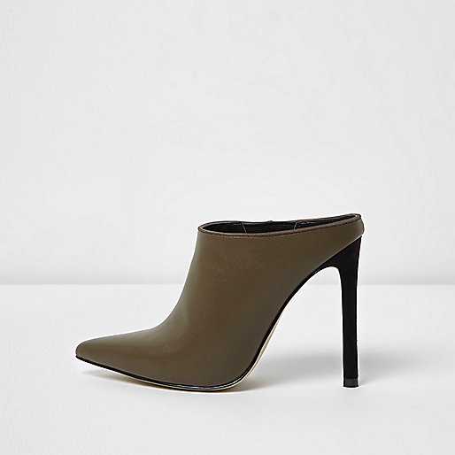 Khaki green pointed toe heeled mules