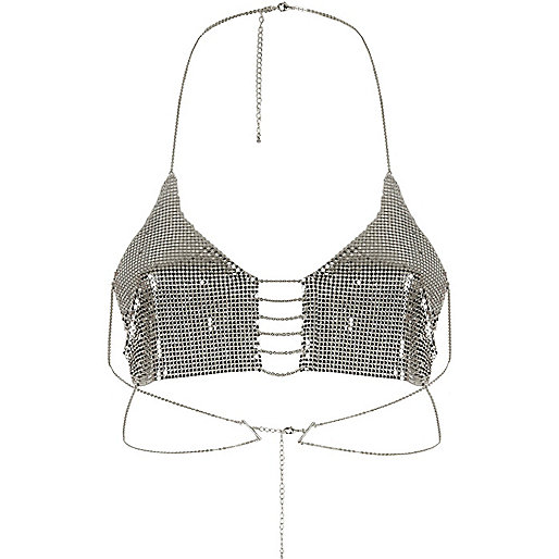 Silver tone chainmail halter neck bralet