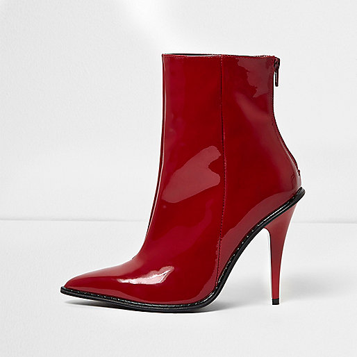 Red patent stiletto heel ankle boots
