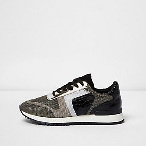 Black metallic croc lace-up runner trainers