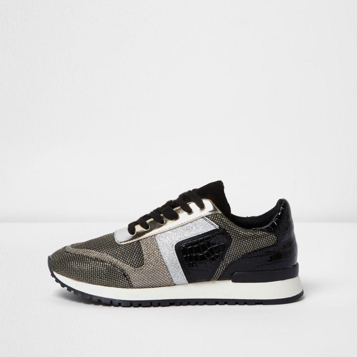 Black metallic croc lace-up runner sneakers